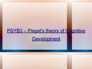 PSYB 3 Piagets theory of Cognitive Development Basic
