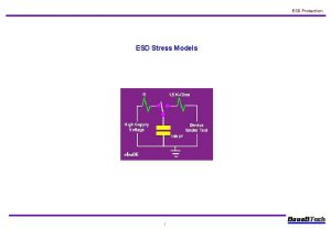 ESD Protection ESD Stress Models 1 l ESD