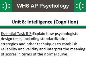 WHS AP Psychology Unit 8 Intelligence Cognition Essential