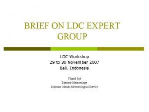 BRIEF ON LDC EXPERT GROUP LDC Workshop 29