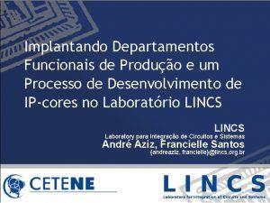 Implantando Departamentos Funcionais de Produo e um Processo