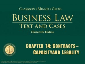 CLARKSON MILLER CROSS CHAPTER 14 CONTRACTS CAPACITY AND