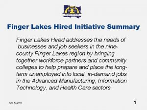 Finger Lakes Hired Initiative Summary Finger Lakes Hired