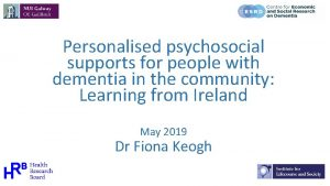 Personalised psychosocial supports for people with dementia in