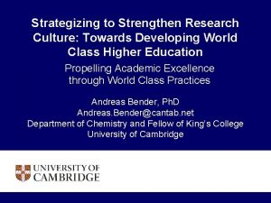Strategizing to Strengthen Research Culture Towards Developing World