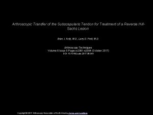 Arthroscopic Transfer of the Subscapularis Tendon for Treatment