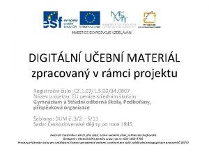 DIGITLN UEBN MATERIL zpracovan v rmci projektu Registran