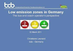 Bundesverband Deutscher Omnibusunternehmer e V Low emission zones