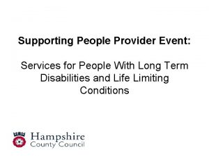 Supporting People Provider Event Services for People With