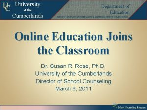 UC University of the Cumberlands Departmentof of Education