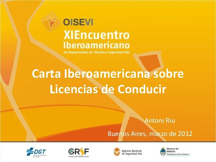 Carta Iberoamericana sobre Licencias de Conducir Antoni Riu