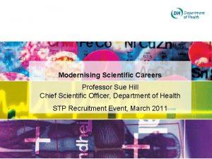 Modernising Scientific Careers Professor Sue Hill Chief Scientific
