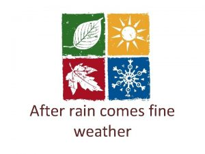 After rain comes fine weather Weather When the