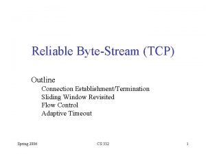 Reliable ByteStream TCP Outline Connection EstablishmentTermination Sliding Window