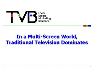 In a MultiScreen World Traditional Television Dominates 1