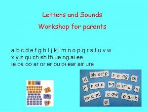 Letters and Sounds Workshop for parents abcdefgh Ijklmnopqrstuvw