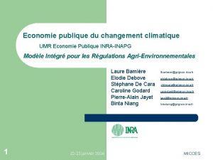 Economie publique du changement climatique UMR Economie Publique