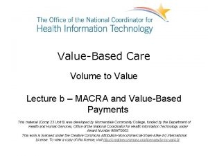 ValueBased Care Volume to Value Lecture b MACRA