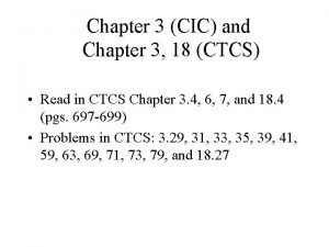 Chapter 3 CIC and Chapter 3 18 CTCS