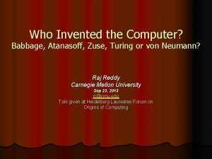 Who Invented the Computer Babbage Atanasoff Zuse Turing