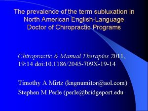 The prevalence of the term subluxation in North