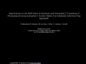 Spectroscopy on the B 850 Band of Individual