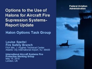 Options to the Use of Halons for Aircraft