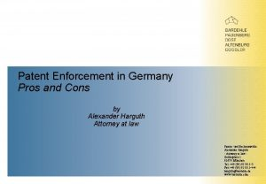 Patent Enforcement in Germany Pros and Cons by