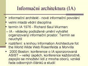 Informan architektura IA informan architekt nov informan povoln