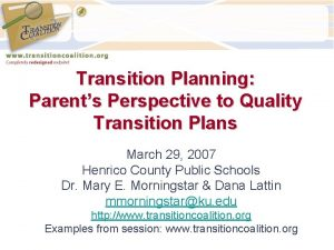 Transition Planning Parents Perspective to Quality Transition Plans
