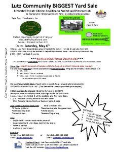 Lutz Community BIGGEST Yard Sale Presented by Lutz
