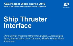AEE Project Work course 2019 Masters Programme in