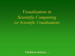 Visualization in Scientific Computing or Scientific Visualization Multiresolution