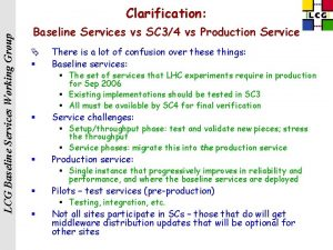 LCG Baseline Services Working Group Clarification Baseline Services