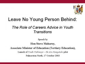 Leave No Young Person Behind The Role of