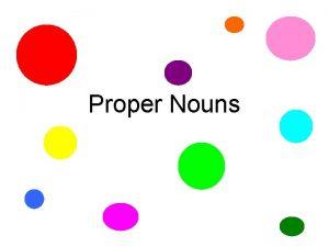 Proper Nouns A Proper Noun NAMES a person