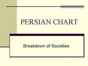 PERSIAN CHART Breakdown of Societies What does PERSIAN