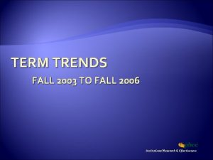 TERM TRENDS FALL 2003 TO FALL 2006 Institutional