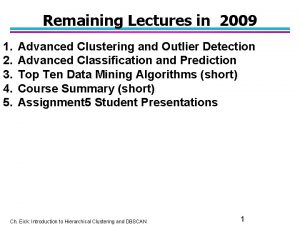 Remaining Lectures in 2009 1 2 3 4