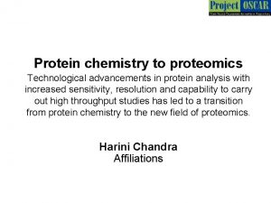 Protein chemistry to proteomics Technological advancements in protein