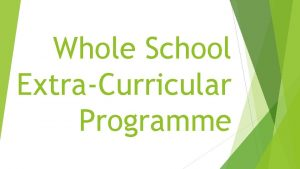 Whole School ExtraCurricular Programme Mondays LUNCH TIME CLUBS