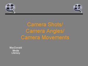 Camera Shots Camera Angles Camera Movements Mac Donald