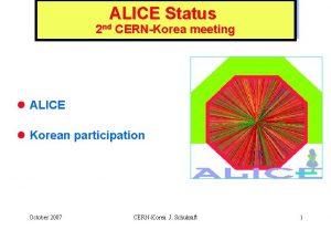 ALICE Status 2 nd CERNKorea meeting l ALICE