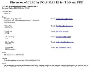 Discussion of CLPC by PCAMAP IE for TDD