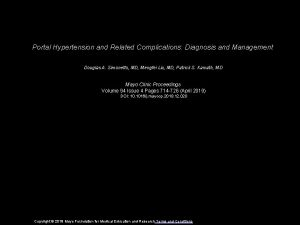 Portal Hypertension and Related Complications Diagnosis and Management