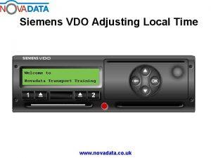Siemens VDO Adjusting Local Time Welcome to Novadata