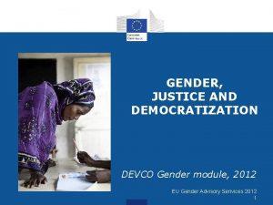 GENDER JUSTICE AND DEMOCRATIZATION DEVCO Gender module 2012