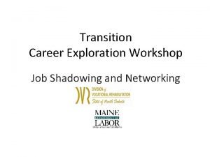 Transition Career Exploration Workshop Job Shadowing and Networking