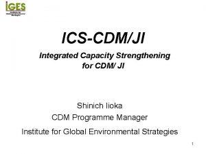 ICSCDMJI Integrated Capacity Strengthening for CDM JI Shinich