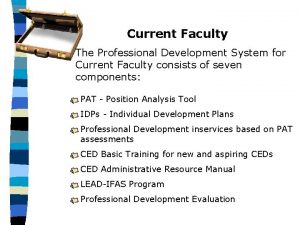 Current Faculty The Professional Development System for Current